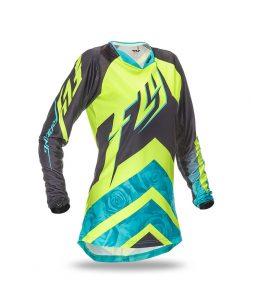 Camiseta FLY Kinetic feminina offroad – Verde Agua + Amarelo Fluor