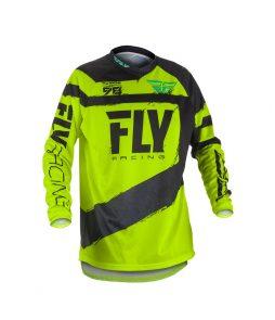 Camiseta FLY F-16 Offroad Moto – Preta + Amarelo Fluor